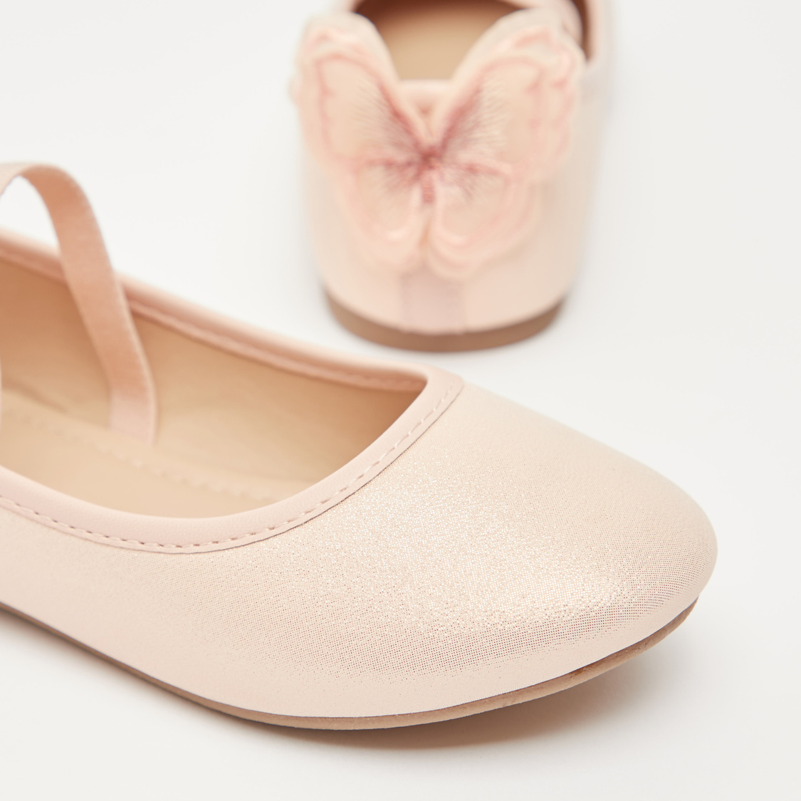 Glitter Accent Shoes with Butterfly Applique Detail