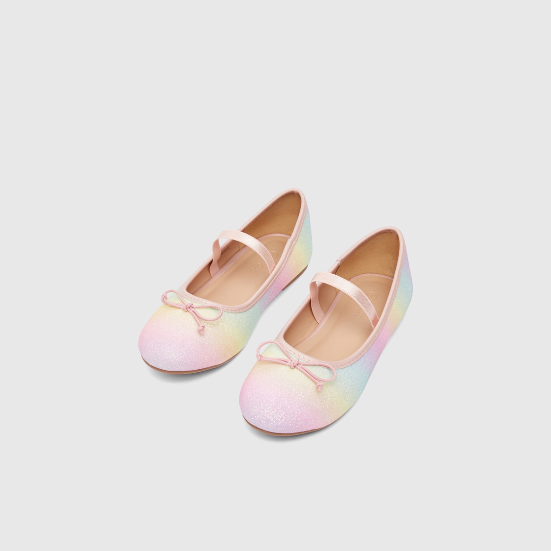 Textured Ballerinas with Bow Applique and Elasticised Band