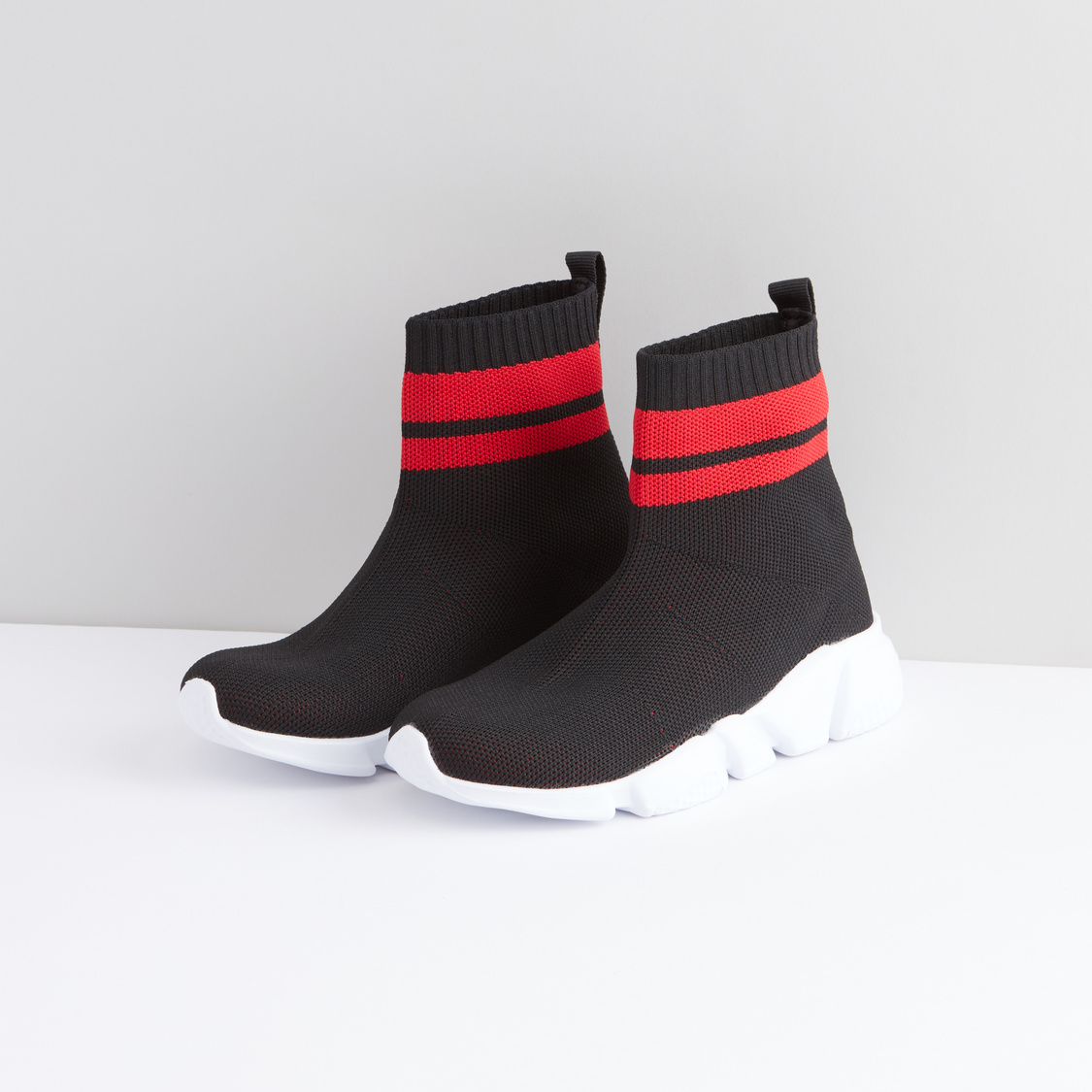 Textured High Top Shoes with Ribbed Collar and Pull Tab