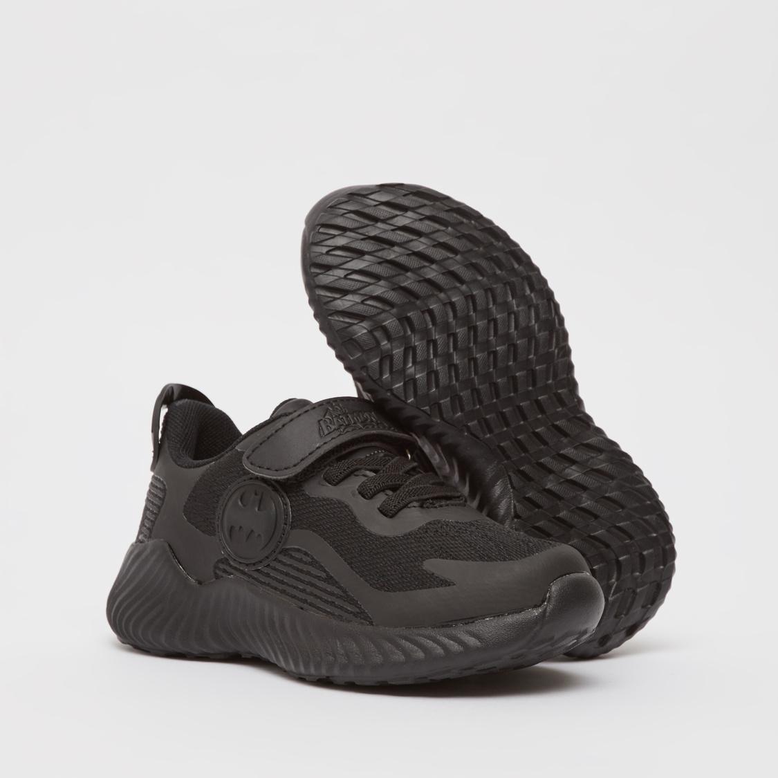 Batman Embossed Shoes with Hook and Loop Closure