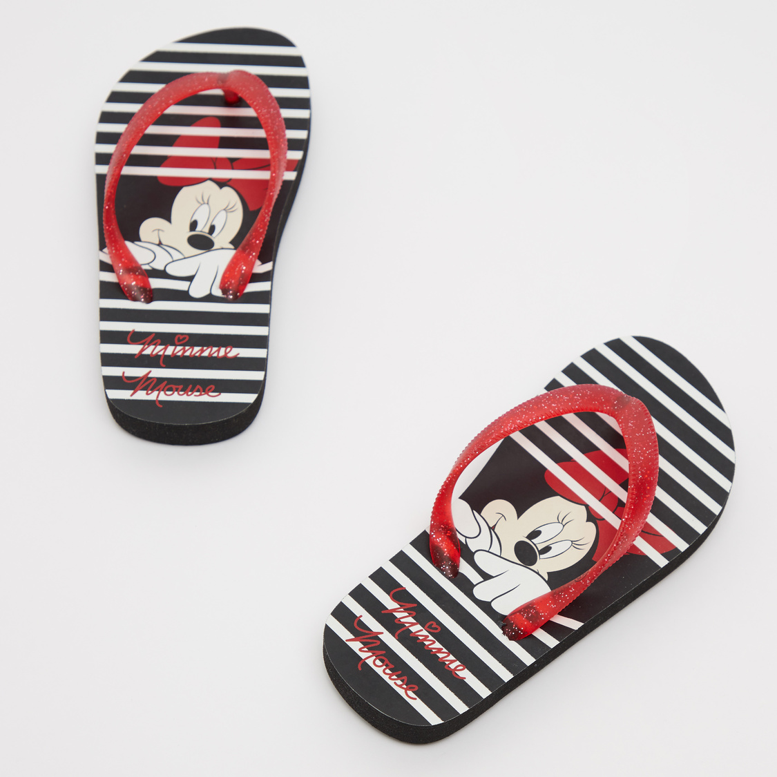 Minnie Mouse Print Flip Flops with Glitter Detail