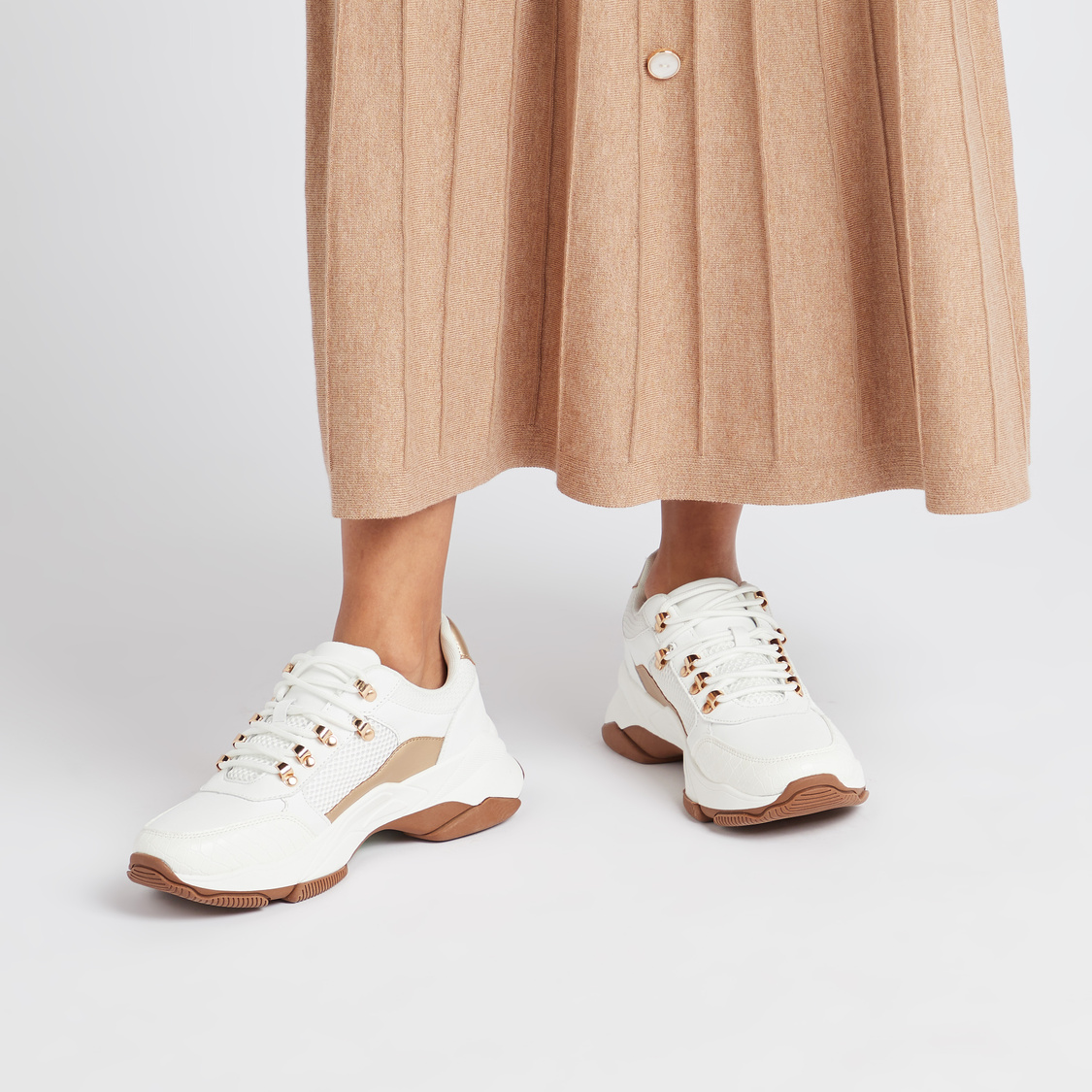 Textured Chunky Lace-Up Trek Shoes