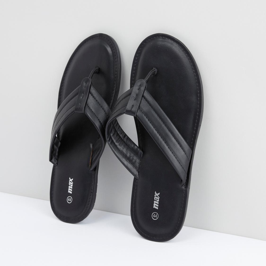 Slip-On Slides with Stitch Detail