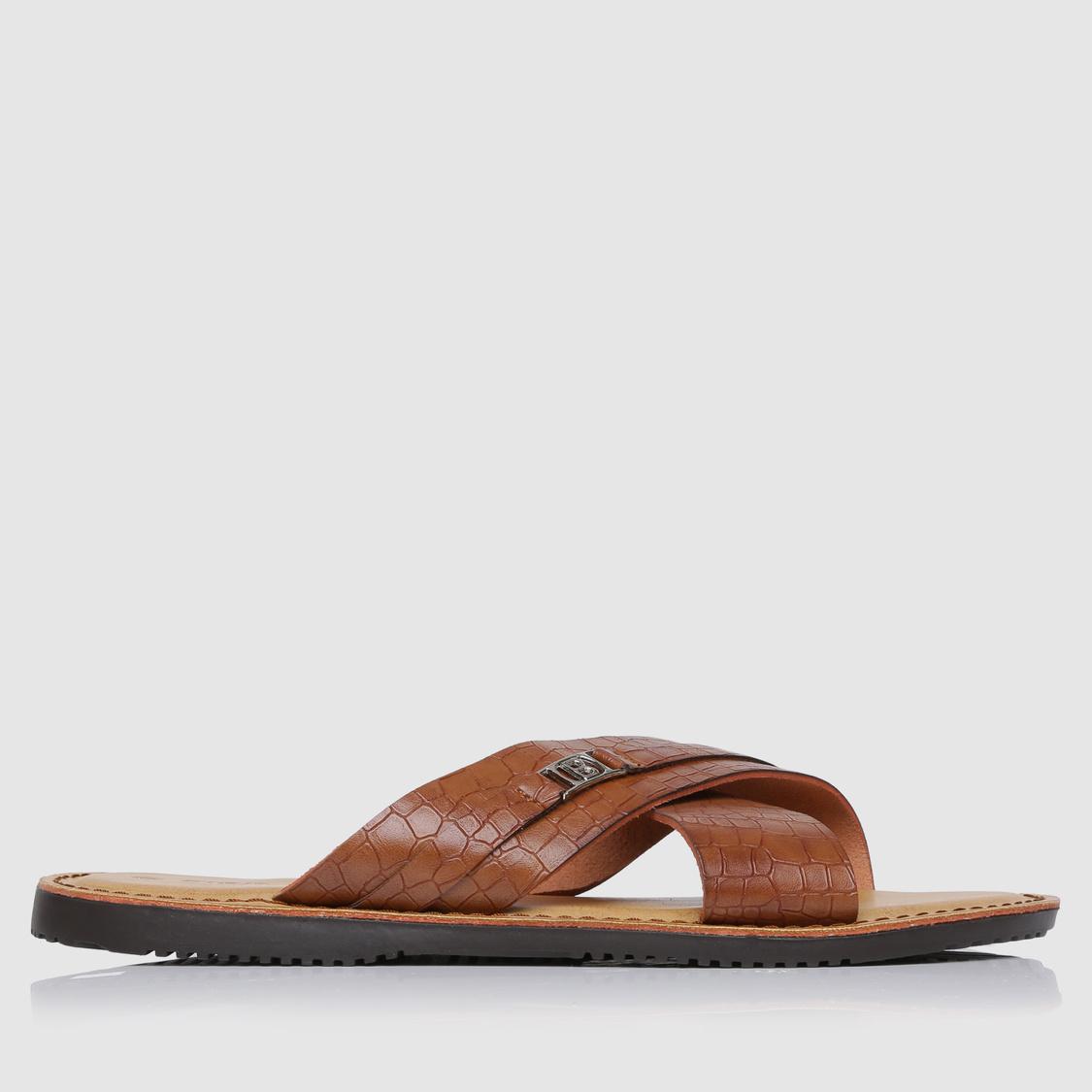 Textured Cross Over Strap Sandals