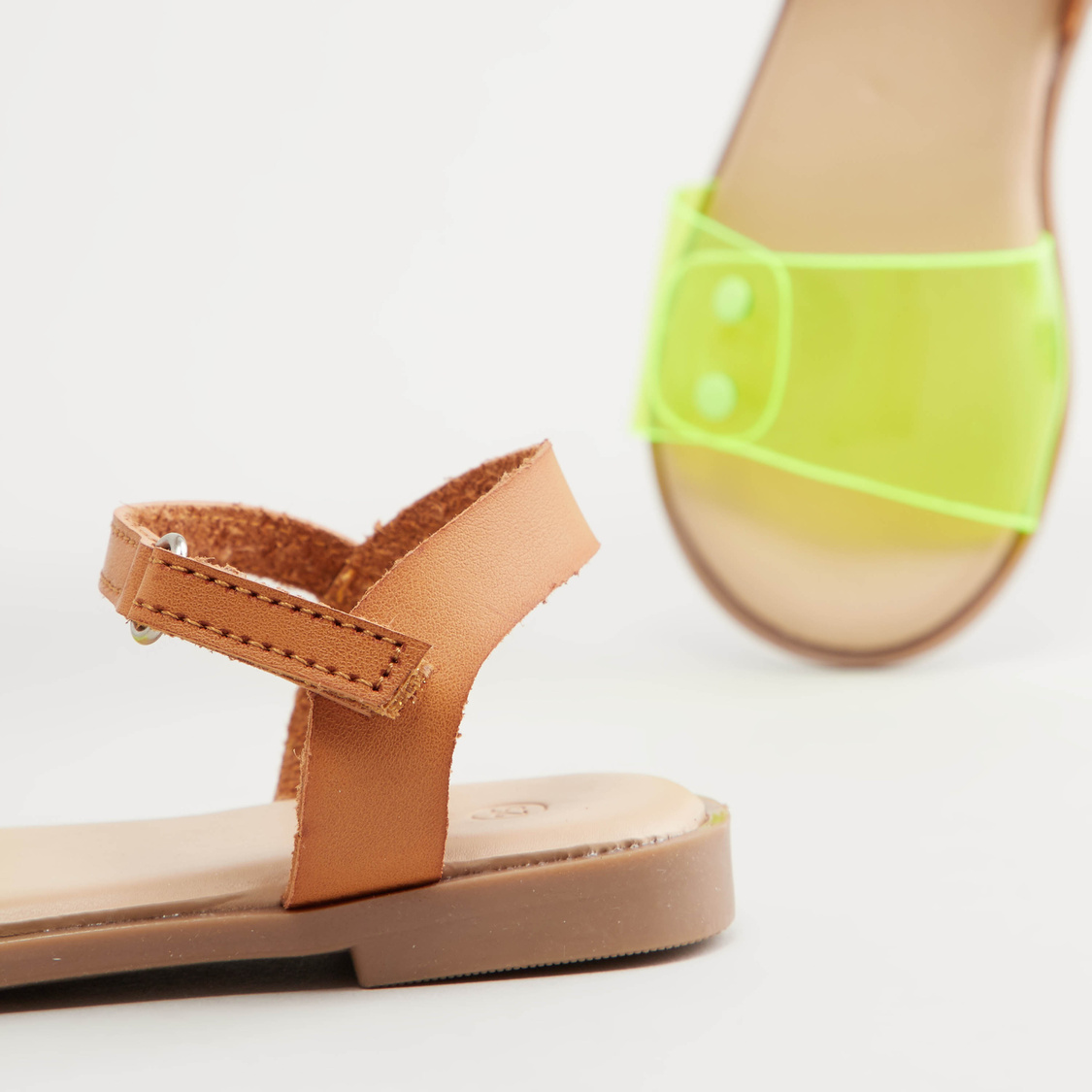 Flat Sandals with Hook and Loop Closure