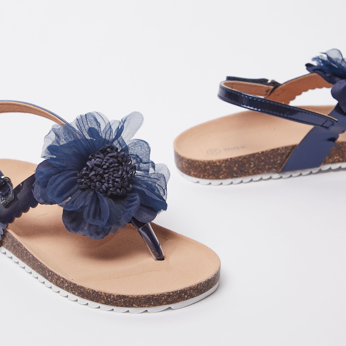 Flower Applique Sandals with Hook and Loop Closure