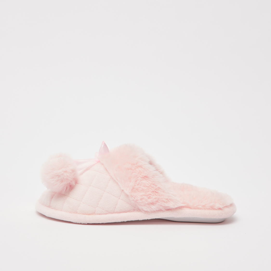 Textured Plush Bedroom Slippers with Pom-Poms