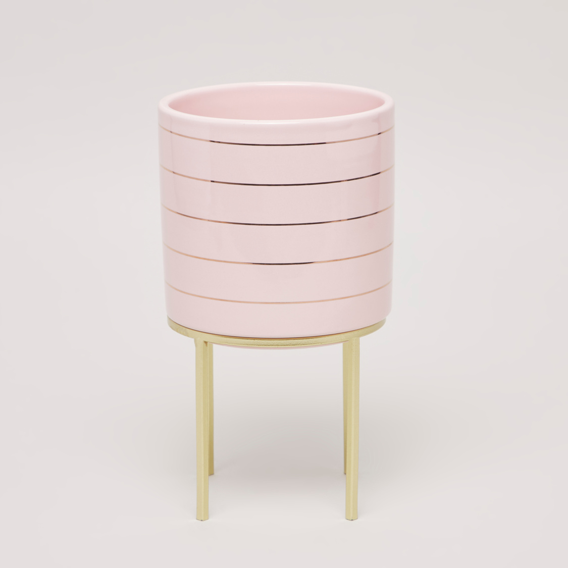 Cylindrical Flower Pot with Stand- 13x13x21 cms