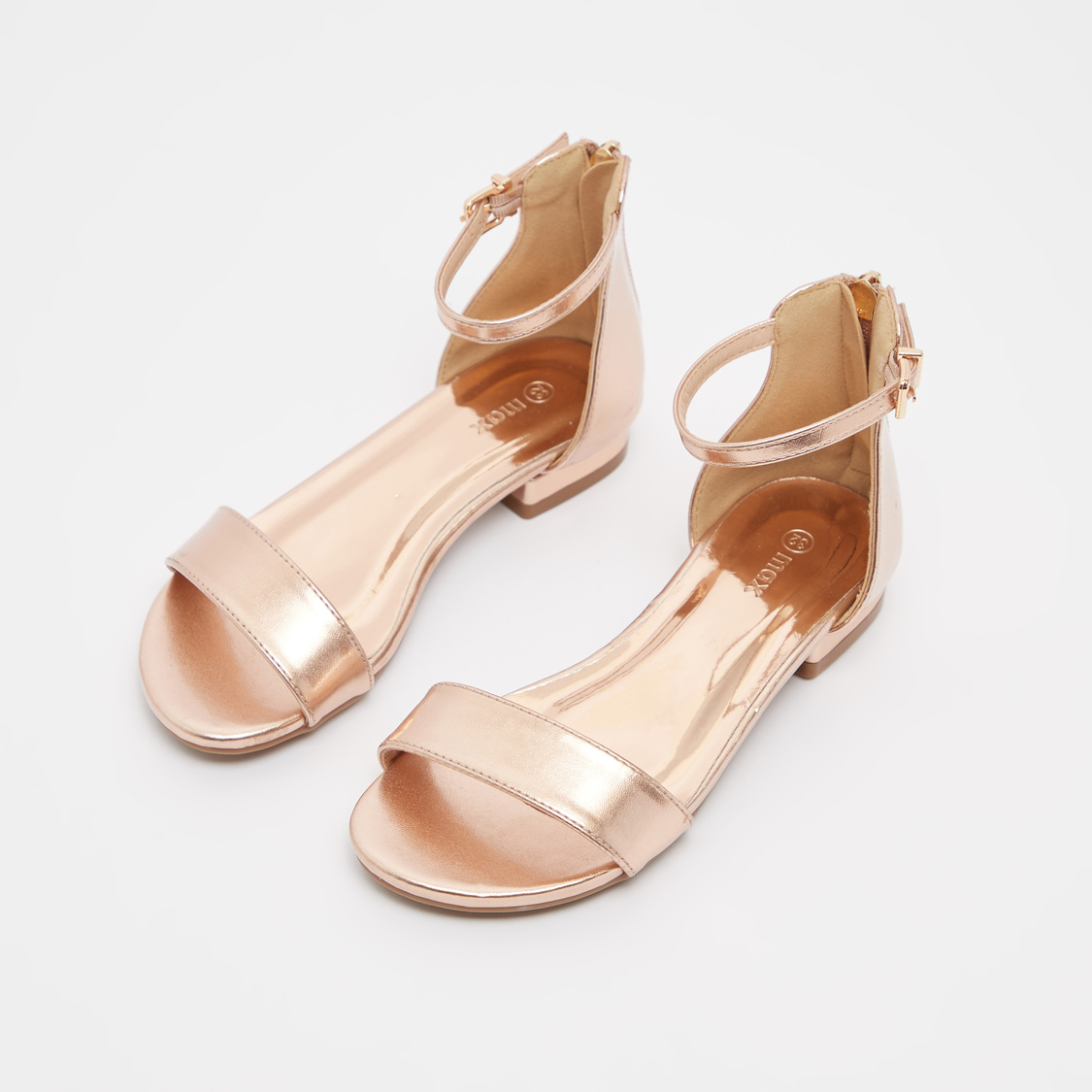 Glossy Ankle Strap Sandals with Zip Closure
