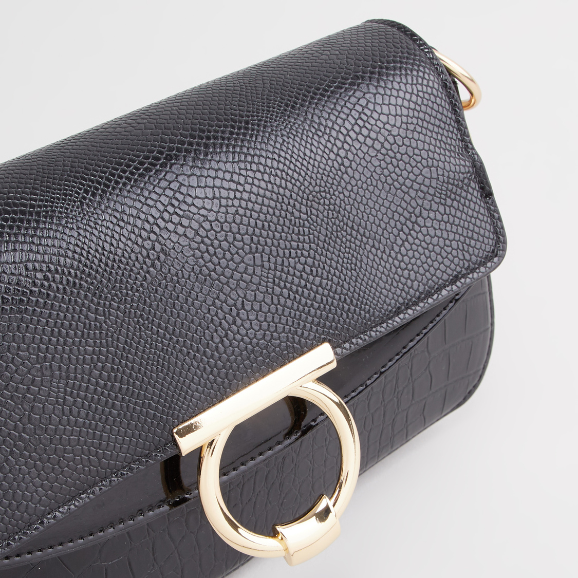Textured Satchel Bag with Pin Buckle Closure