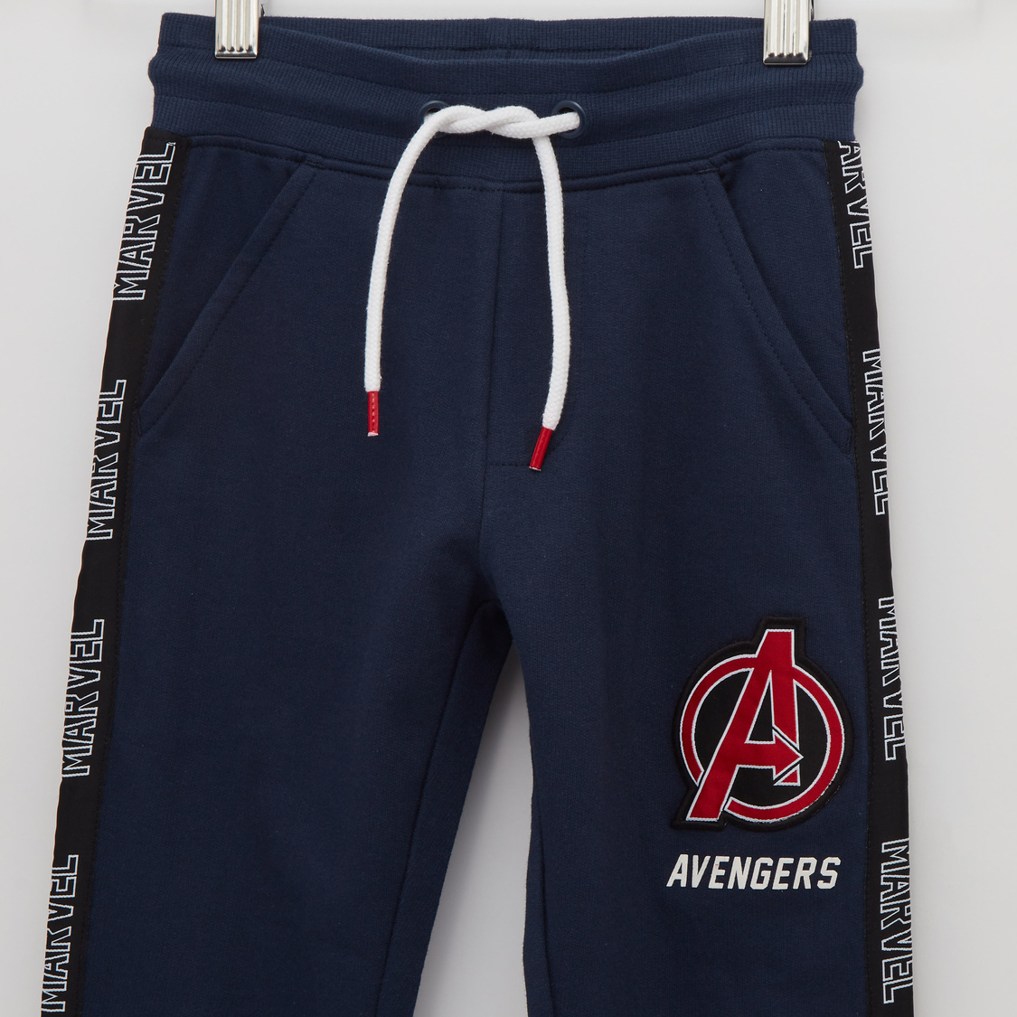 Tape Detail Avengers Print Joggers with Cuffs and Drawstring Closure