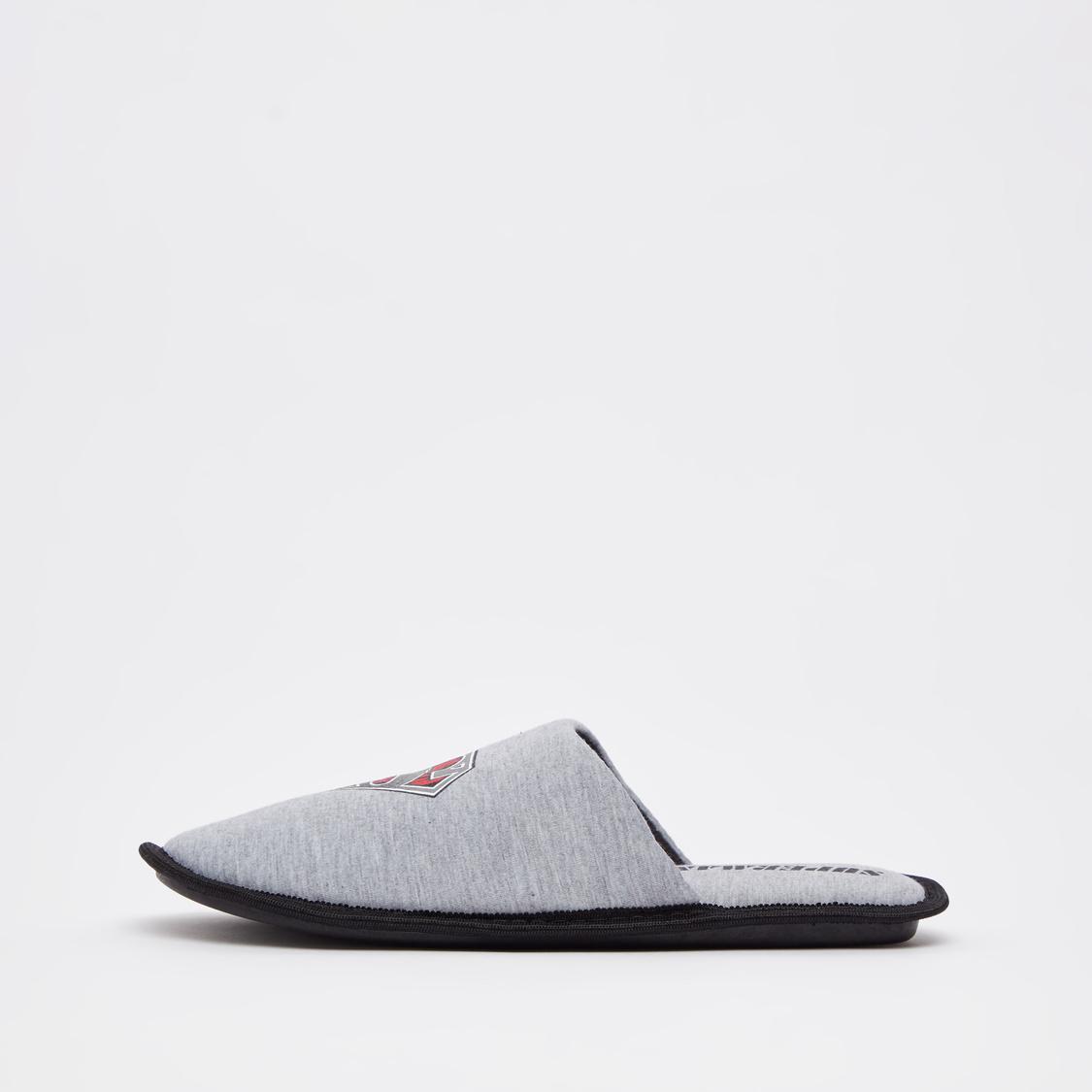 Super-Man Printed Slip-On Bedroom Slippers