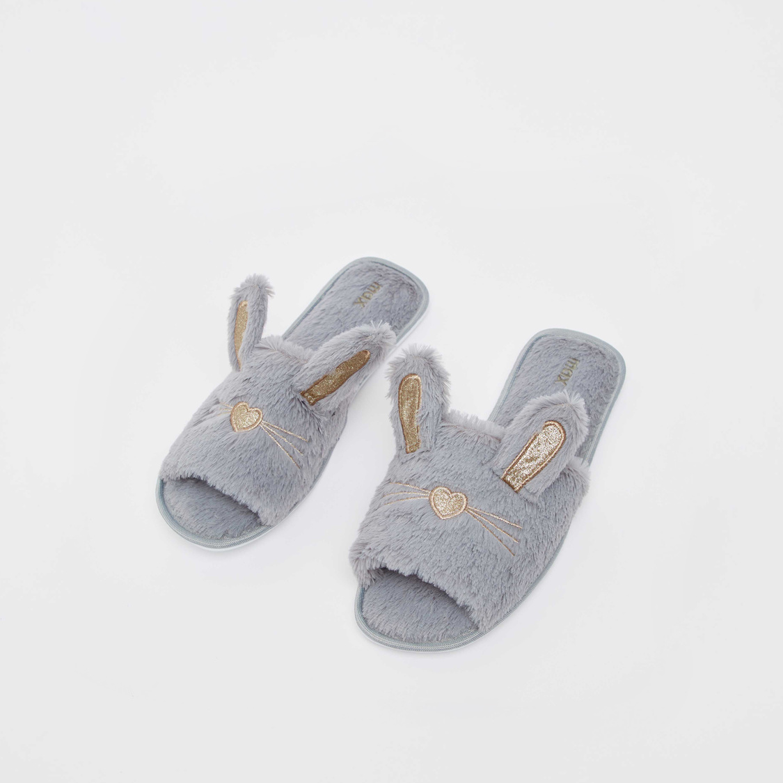 Plush Textured Bedroom Slippers with Bunny Ear Appliques