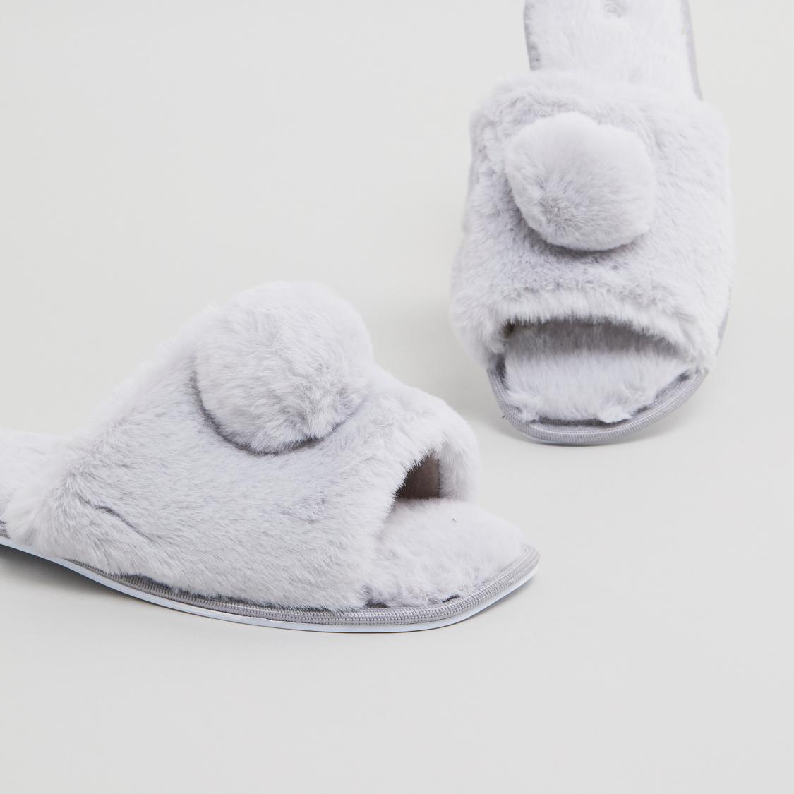 Plush Bedroom Slippers with Pom-Pom Detail