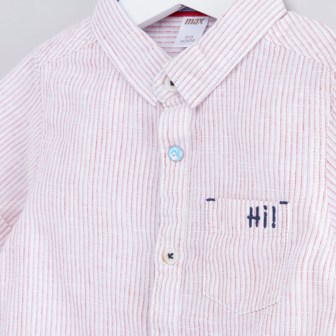 Striped Shirt with Short Sleeves and Chest Pocket Detail