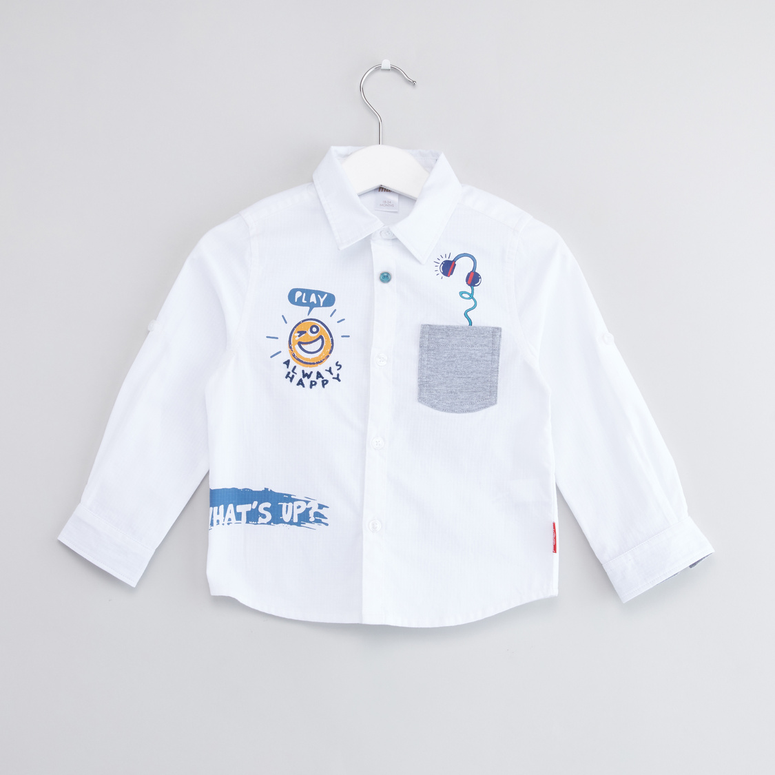 Printed Shirt with Roll-Tab Sleeves and Patch Pocket