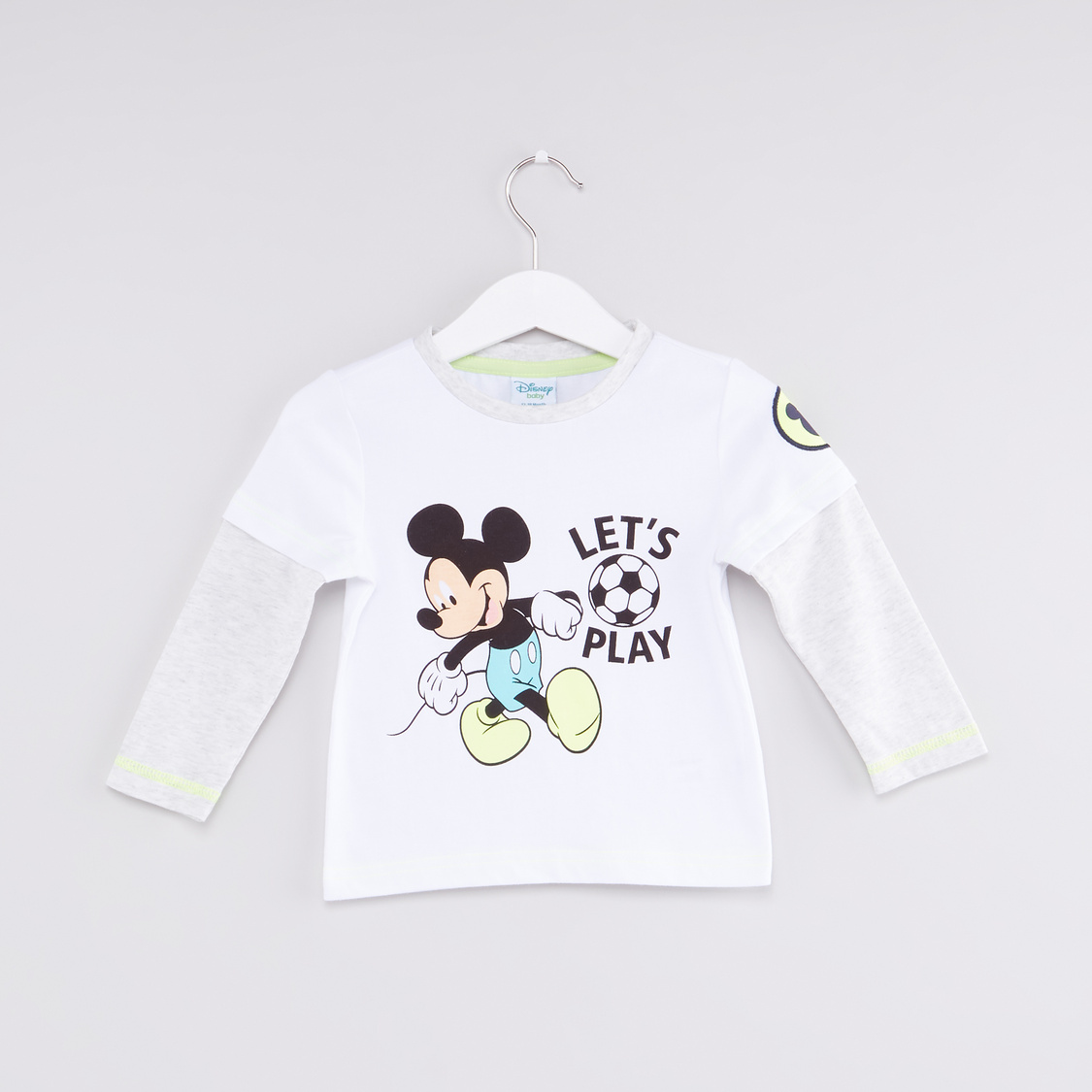 Mickey Mouse Printed Round Neck Long Sleeves T-Shirt