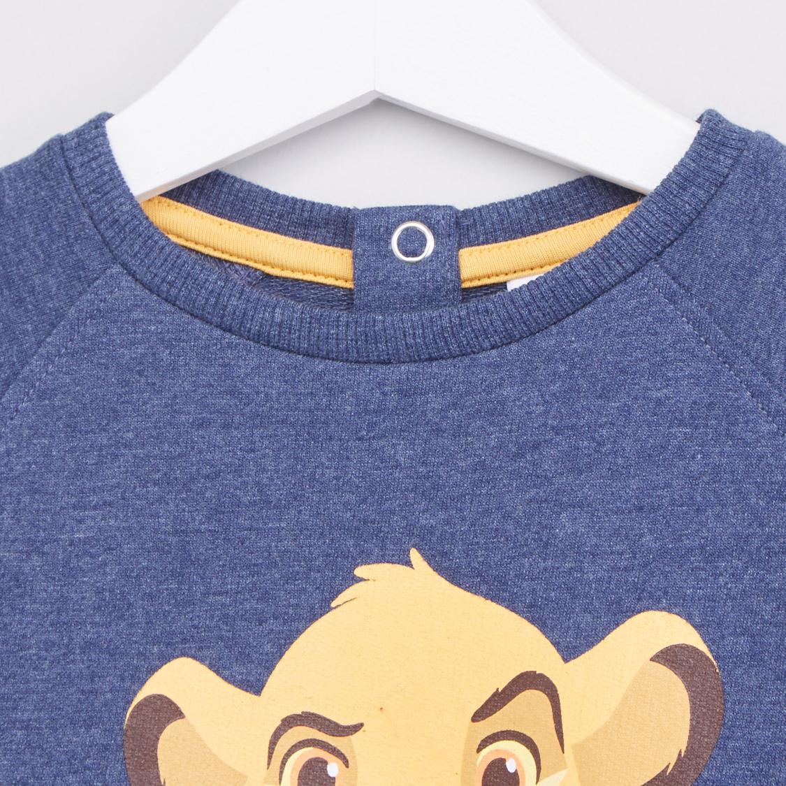 Lion King Printed Sweatshirt with Ribbed Hems