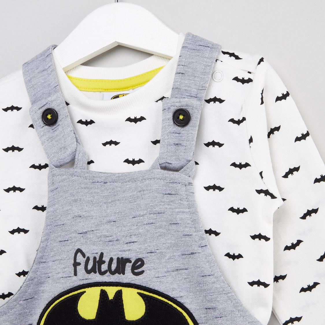 Batman Printed T-shirt and Full Length Dungarees