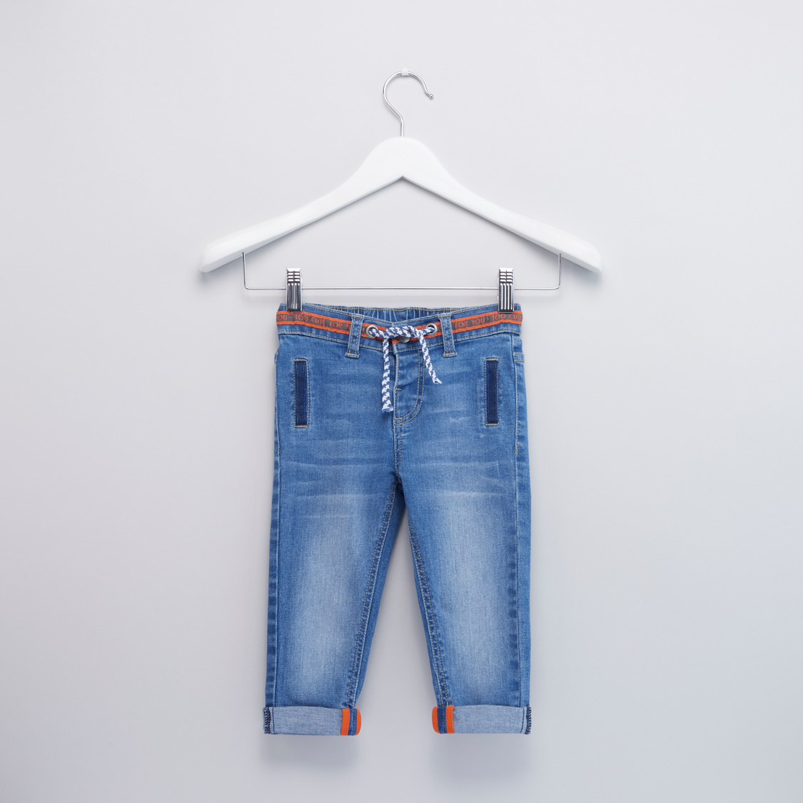 Jeans with Drawstring Waistband and Pockets