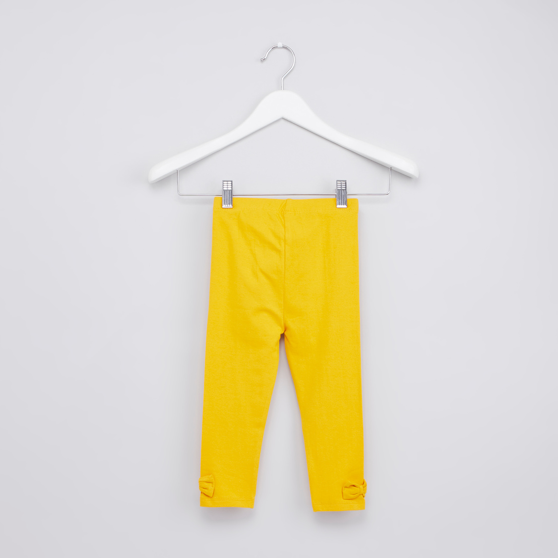 Plain Jeggings with Elasticised Waistband and Bow Applique