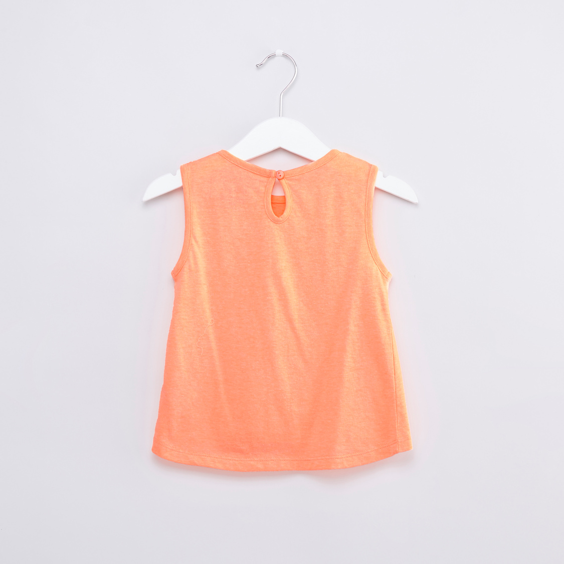Bow Detail Sleeveless Top with Round Neck