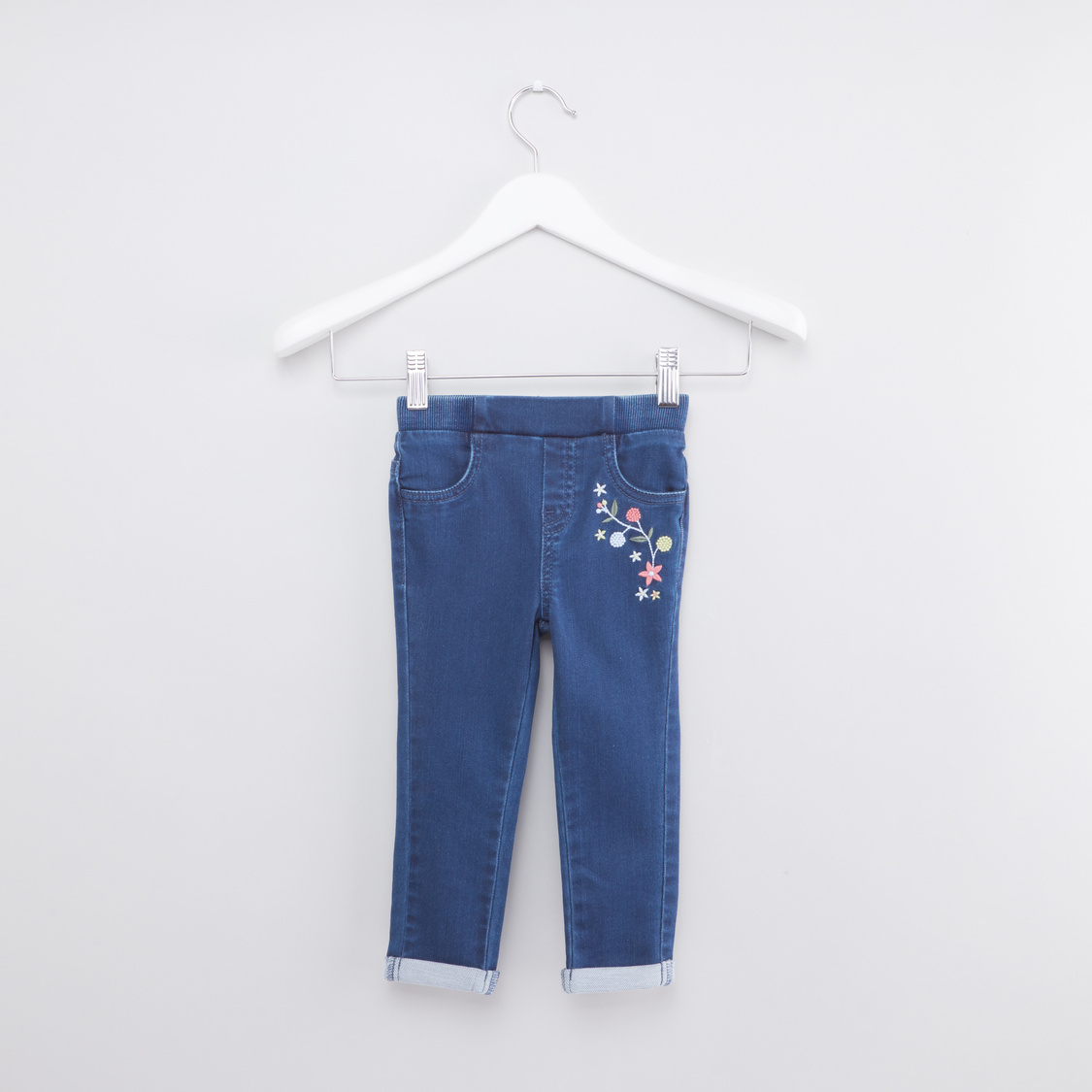 Embroidered Full Length Jeans with Pocket Detail