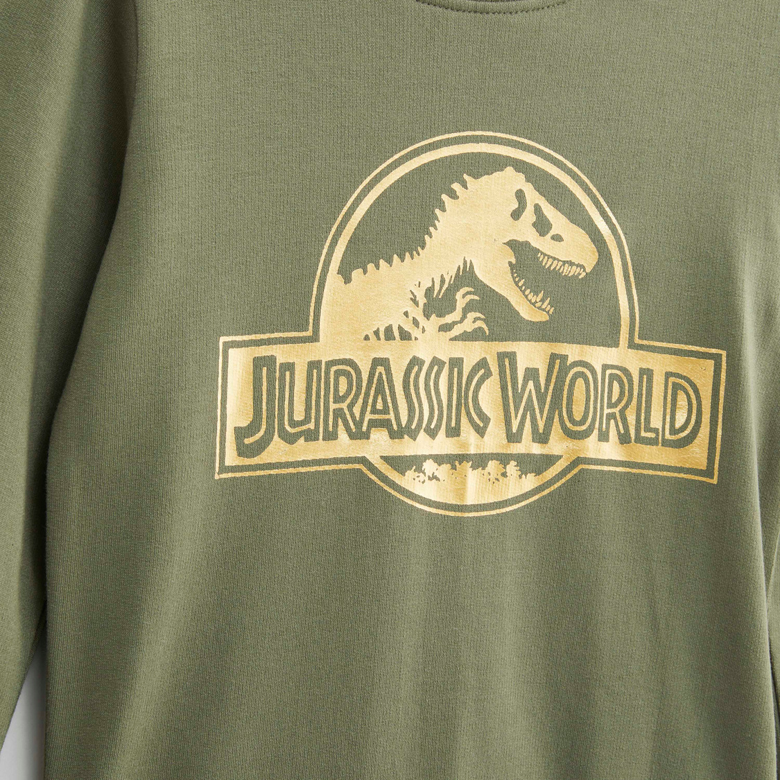 Jurassic World Printed Sweat Top with Round Neck and Long Sleeves