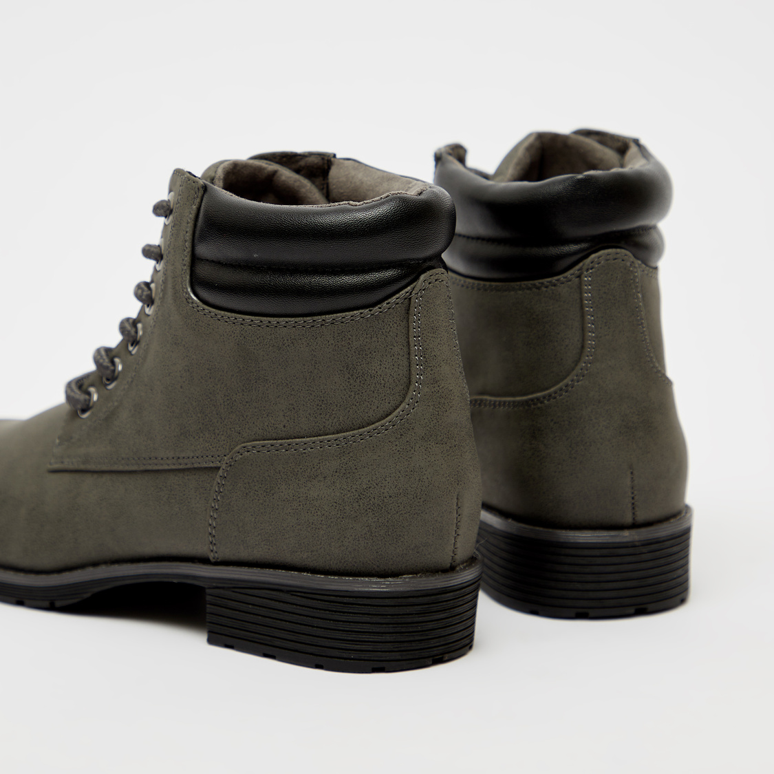 Textured Boots with Lace-Up Closure