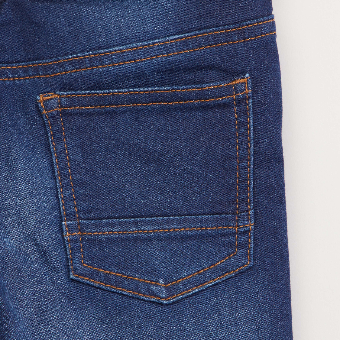 Textured Jeans with Pocket Detail and Drawstring
