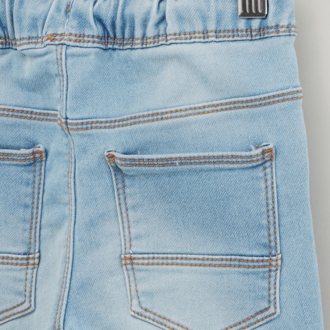 Denim Shorts with Pocket Detail and Drawstring