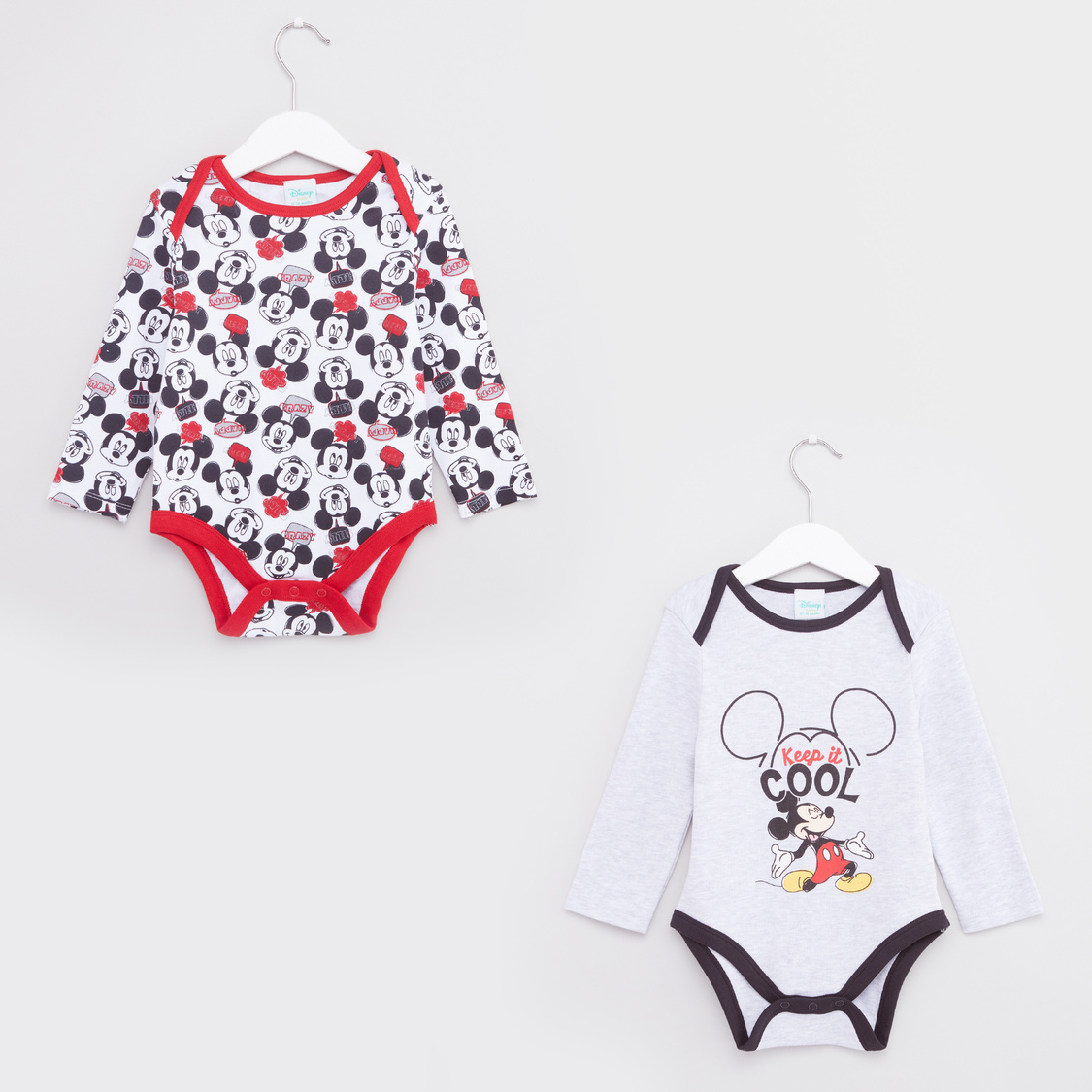 Set of 2 - Mickey Mouse Printed Bodysuit  with Button Closure