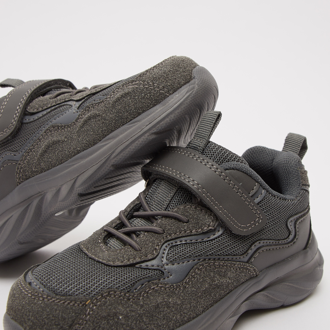 Textured Lace-Up Sports Shoes with Hook and Loop Closure