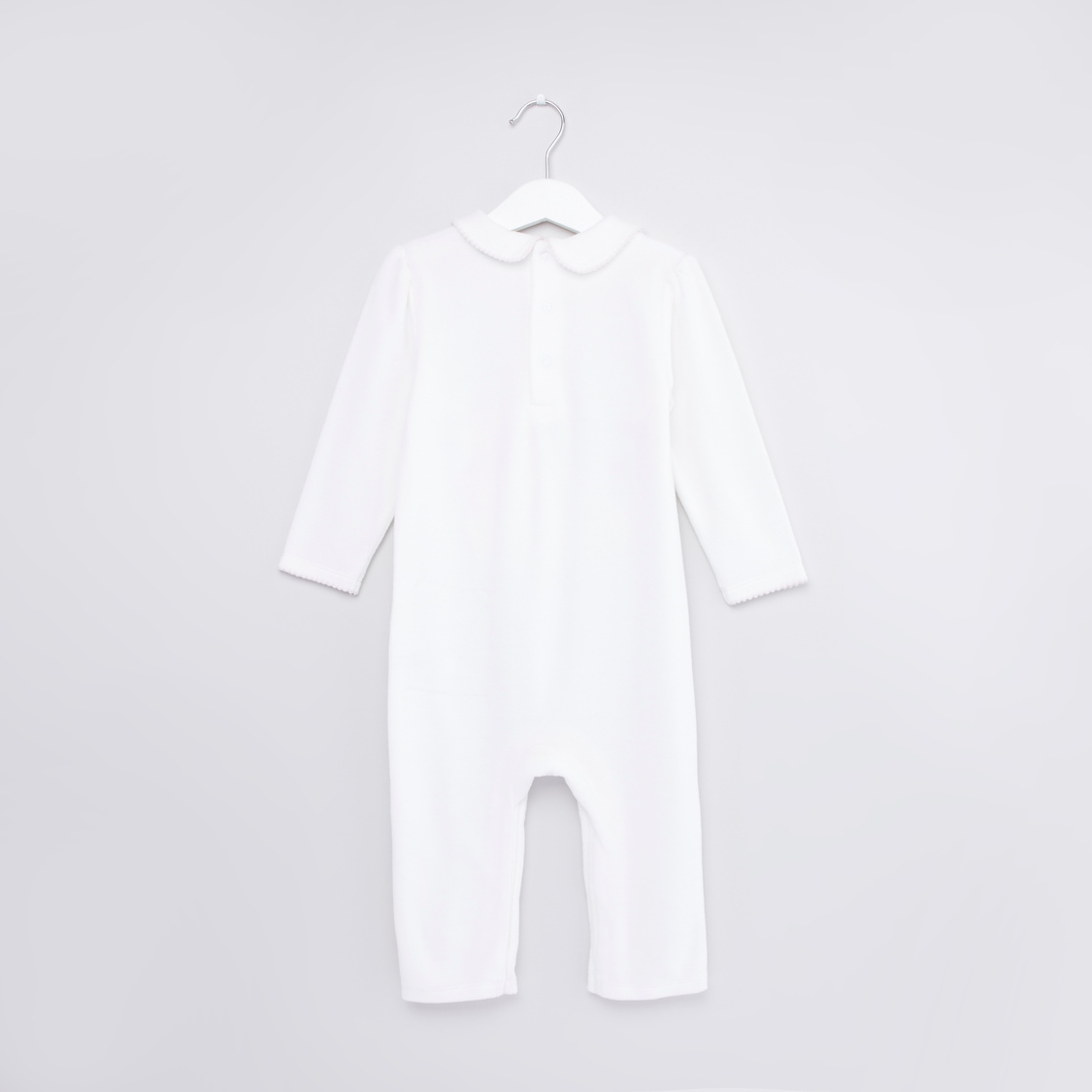 Textured Sleepsuit with Long Sleeves and Cap