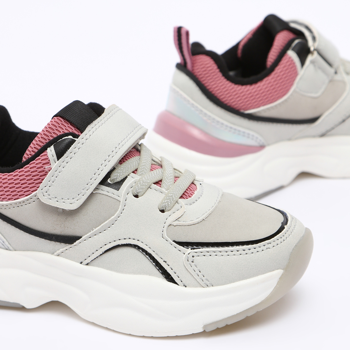 Textured Running Shoes with Hook and Loop Closure