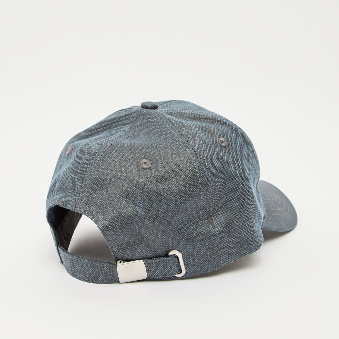 Textured Cap with Applique Detail and Plate Buckle Closure