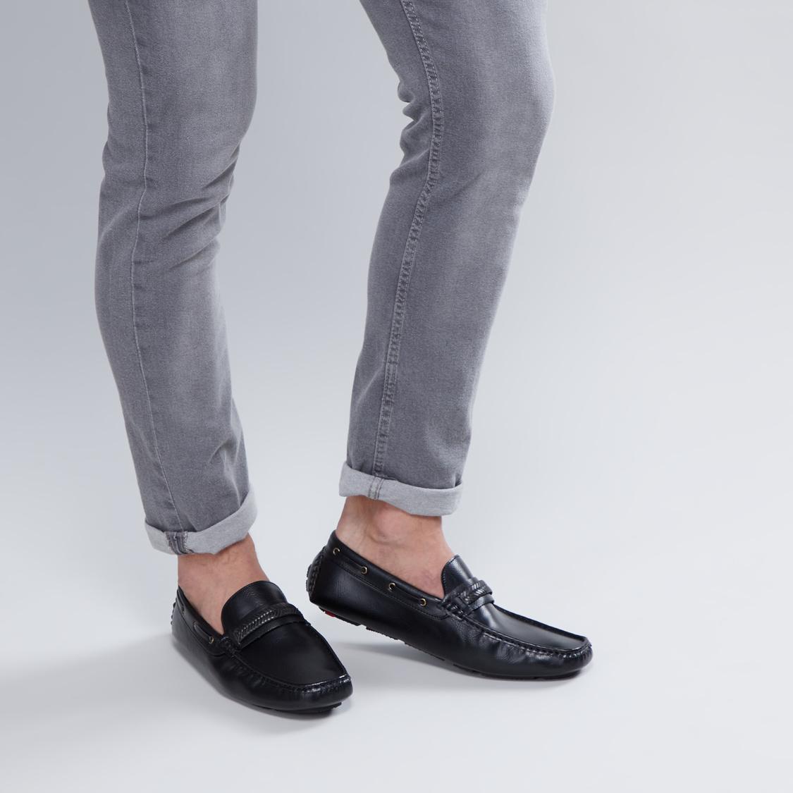 Stitch Detail Slip-On Mocassin Shoes