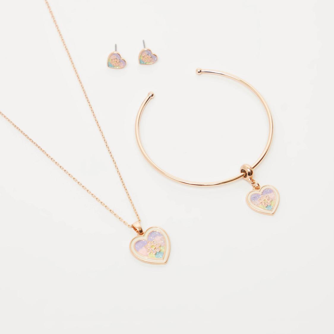 طقم مجوهرات بتفاصيل مزيّنة قلب-4 قطع