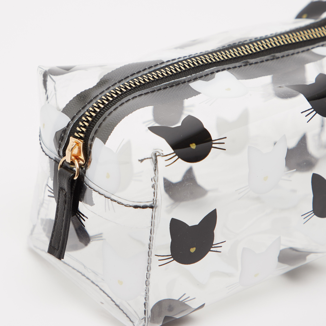 See Through Pouch with Kitty Face Prints and Zip Closure