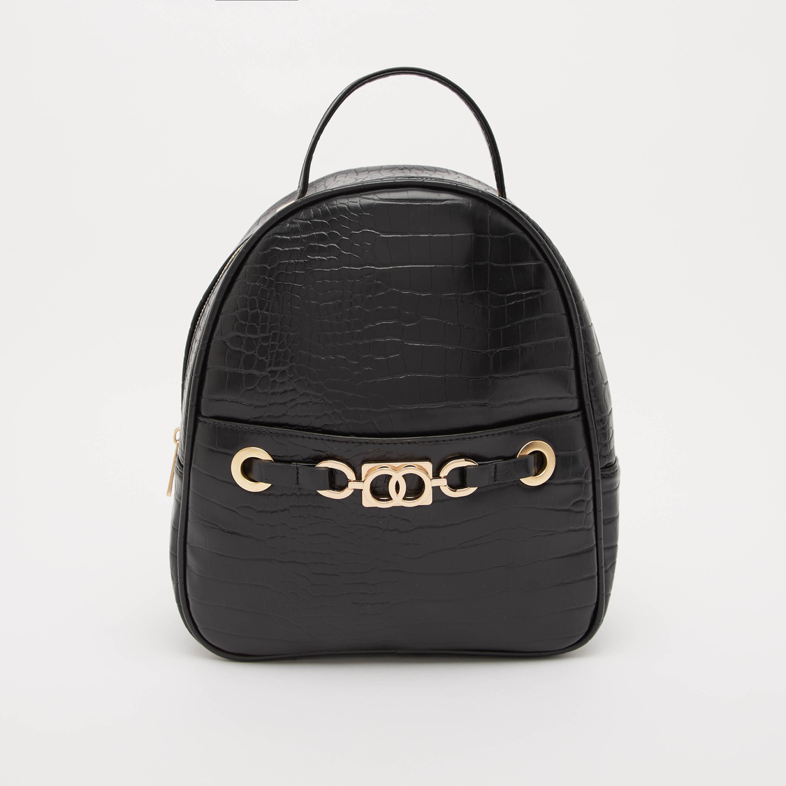 Textured Backpack with Zip Closure