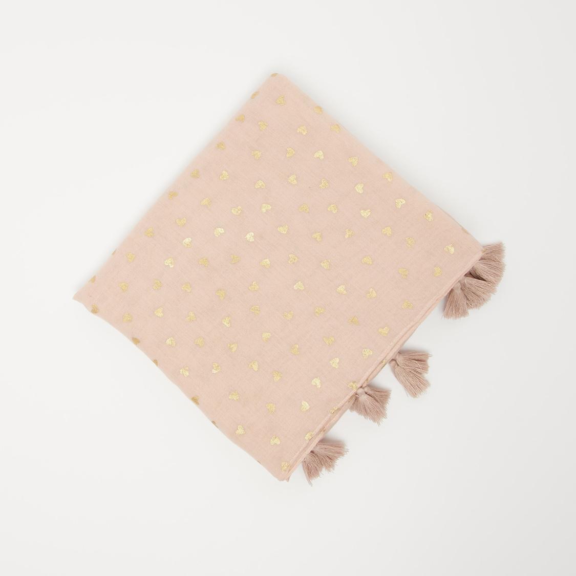 Heart Print Rectangular Scarf with Tassels