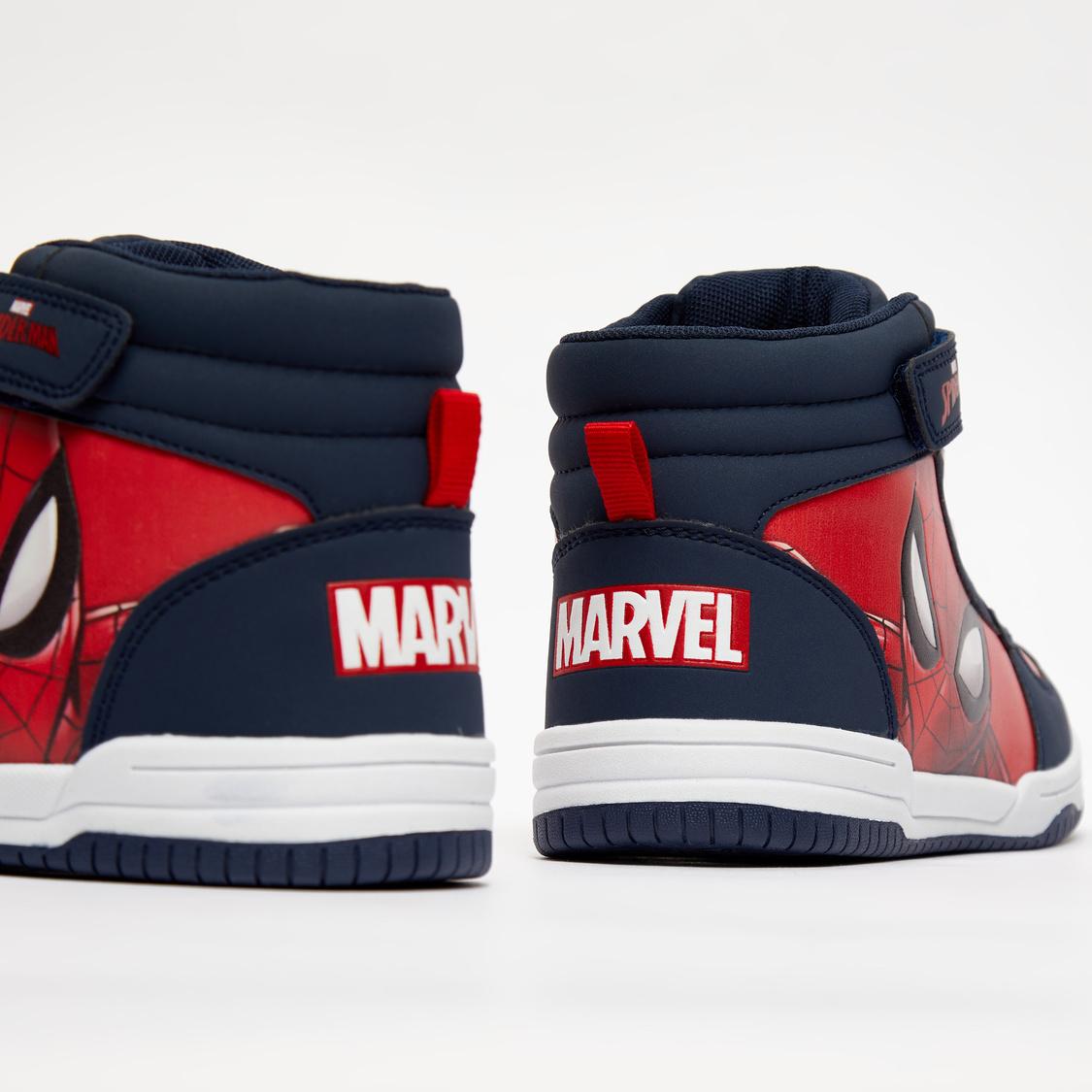 Spiderman Print High Top Hook and Loop Sneakers