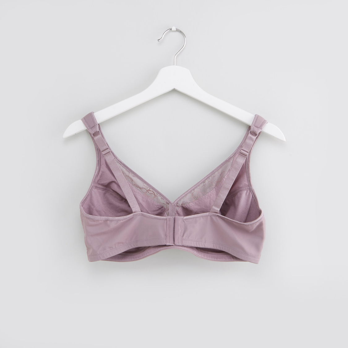 Lace Detail Double Mould Bra with Hook and Eye Closure