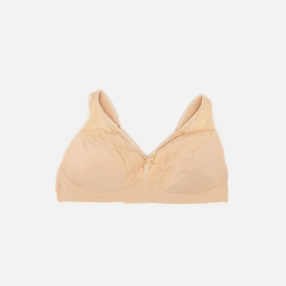 Textured Non-Wired Bra with Hook and Eye Closure