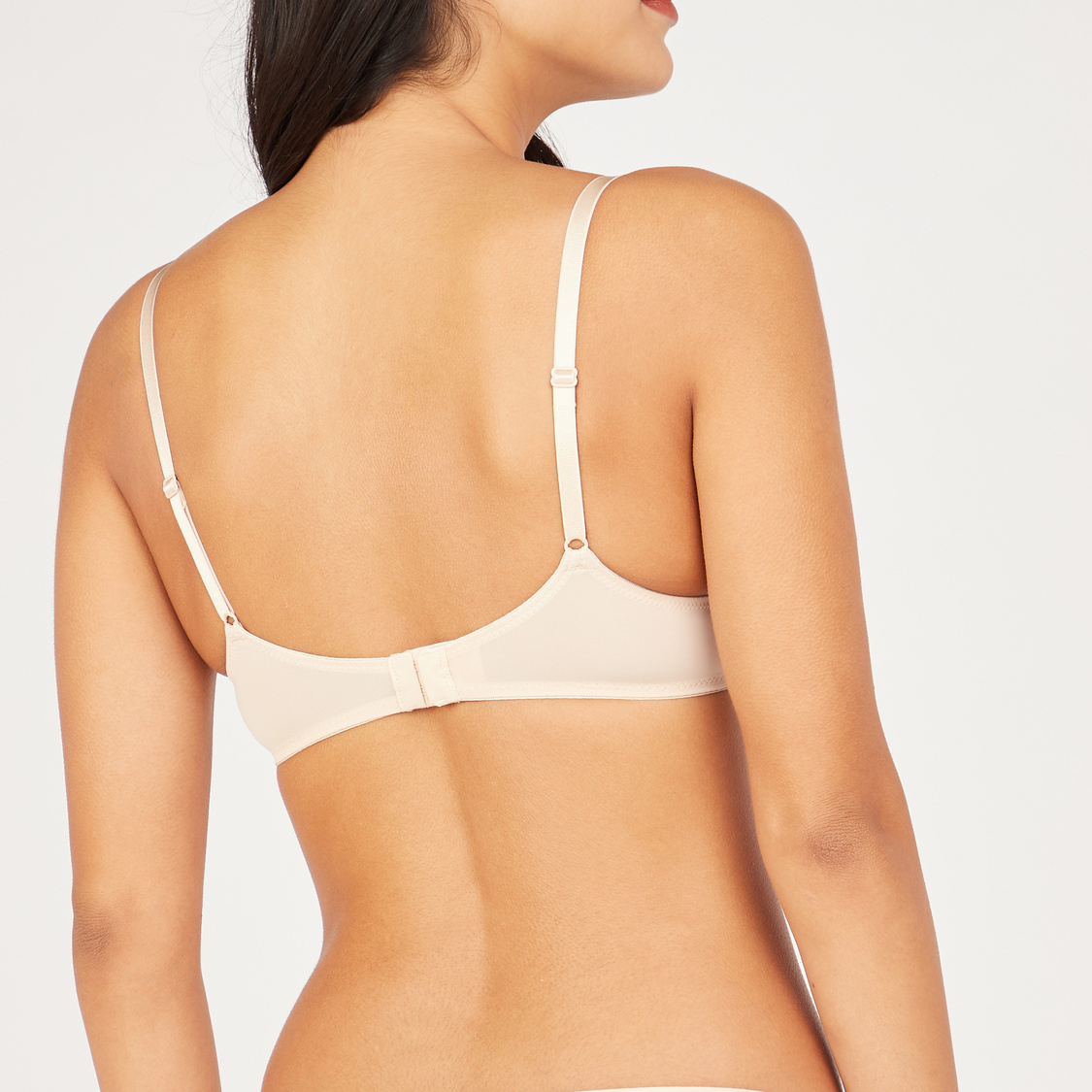 Set of 2 - Textured Plunge Bra with Hook and Eye Closure