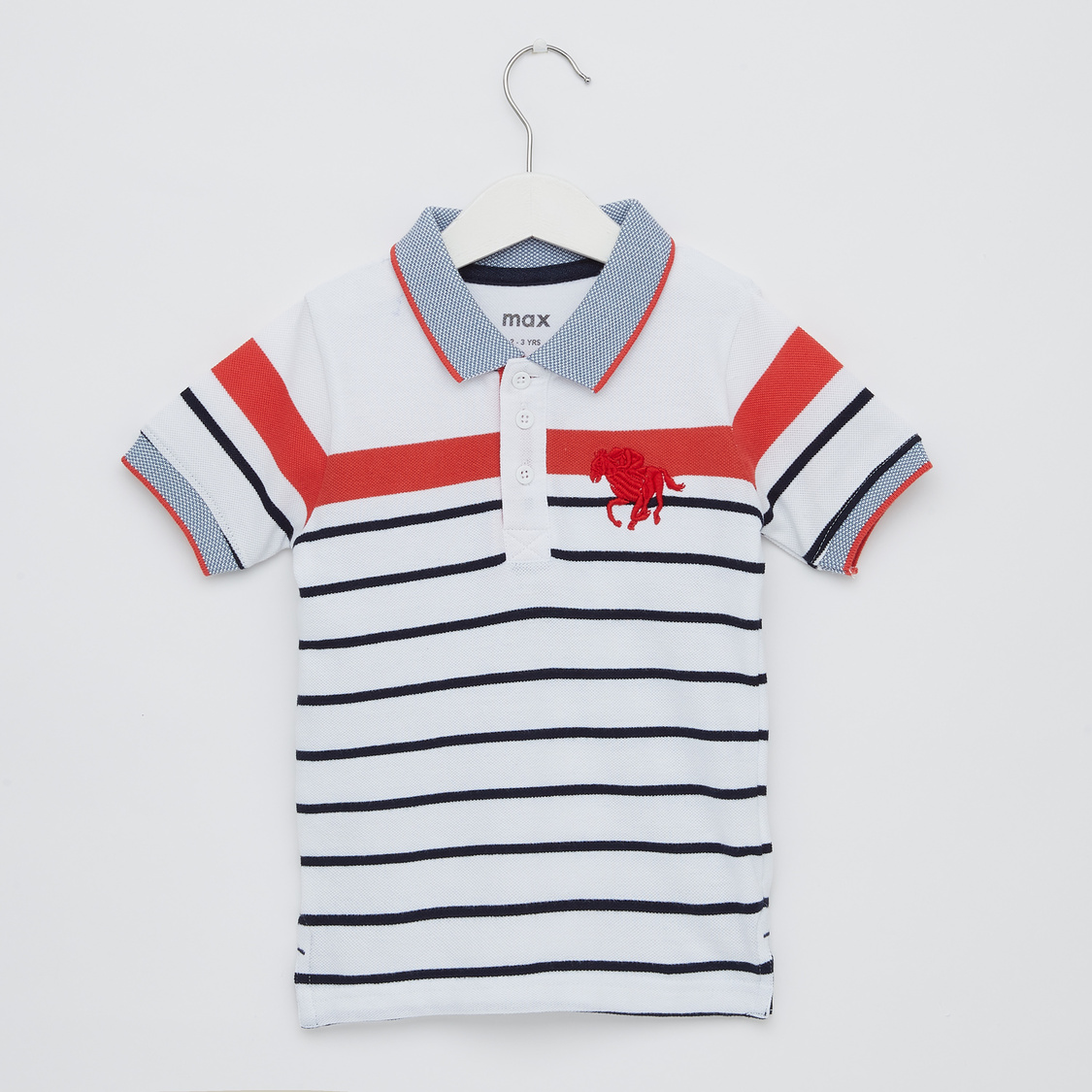 Striped Polo T-shirt with Collared Neck and Short Sleeves