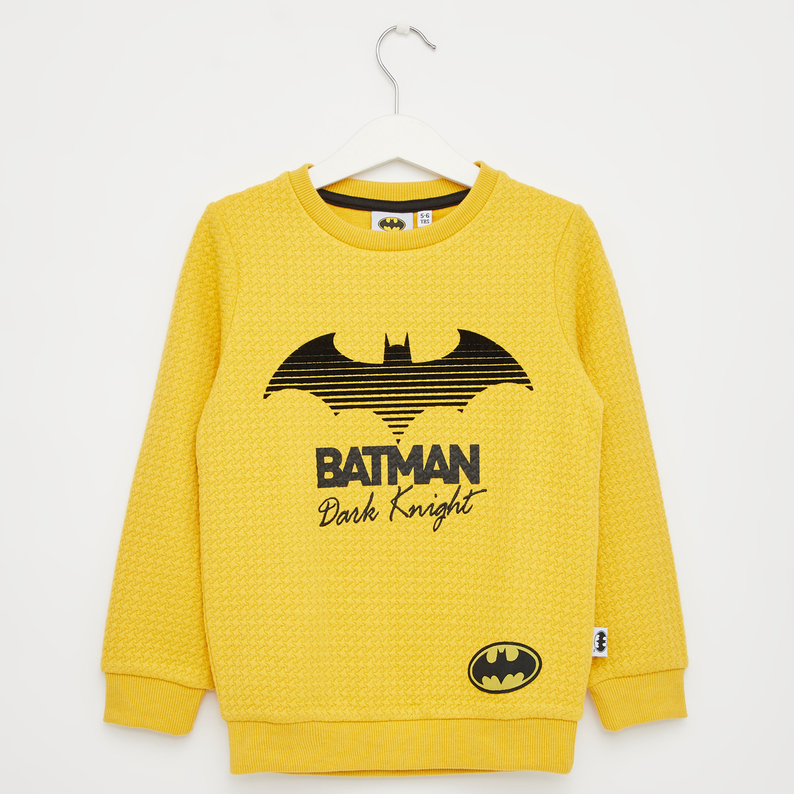 Textured Batman Print Sweat Top with Round Neck and Long Sleeves