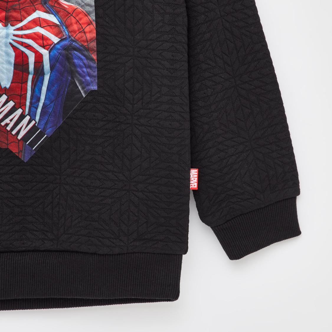 Spider-Man Print Round Neck Sweatshirt with Long Sleeves