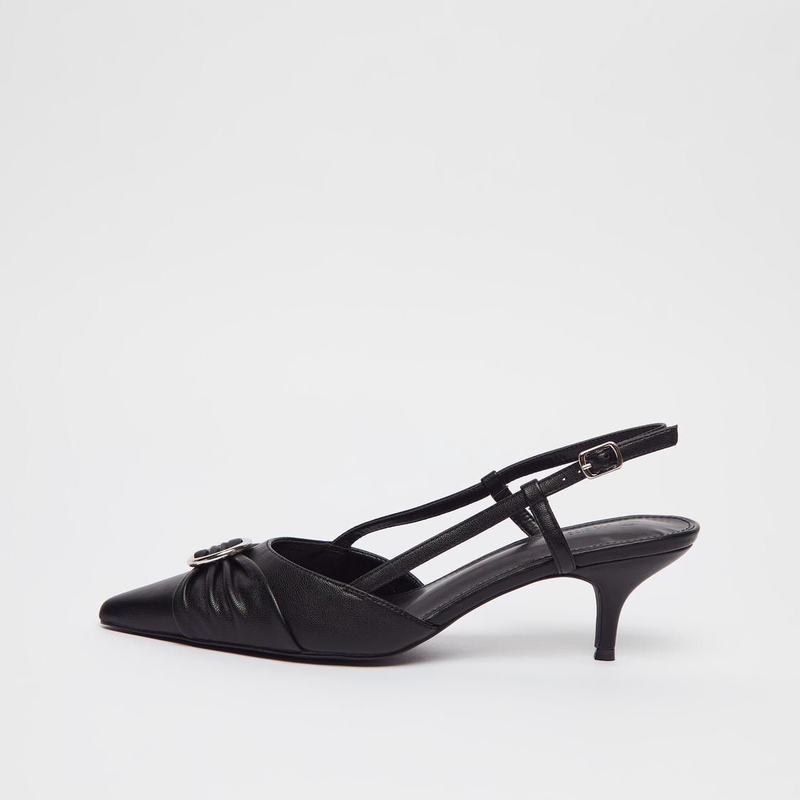 Solid Slingback Sandals with Buckle Applique