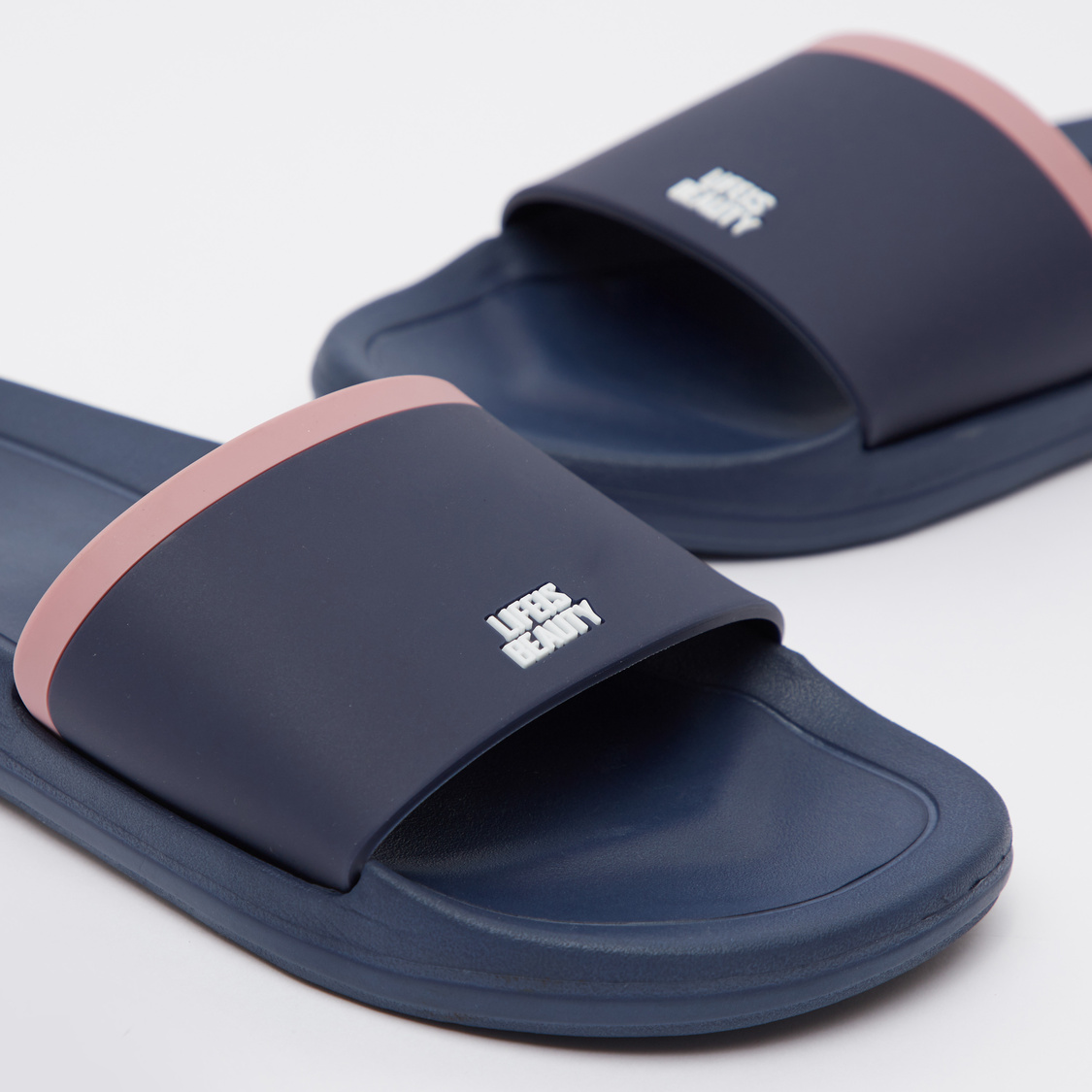 Colourblock Slides with Embossed Slogan Detail